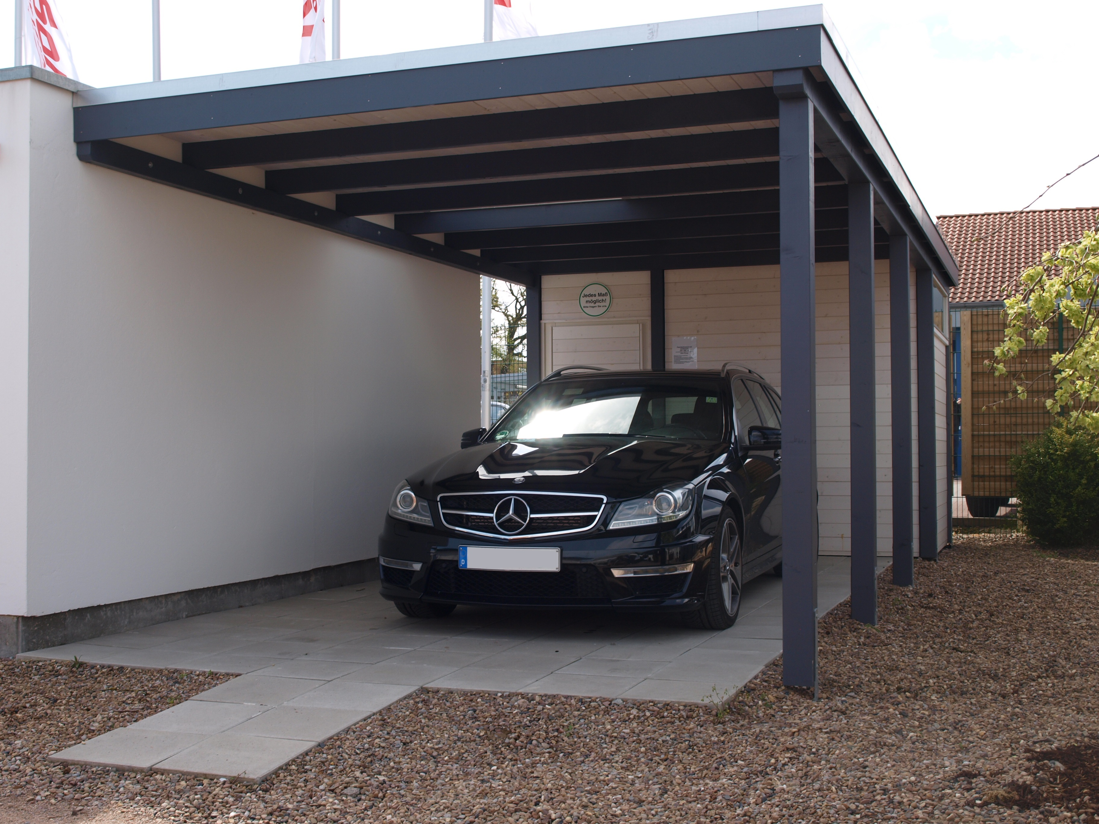 wandanlehncarport anlehncarport carport 5 00 x 8 00 m mit ger teraum ebay. Black Bedroom Furniture Sets. Home Design Ideas